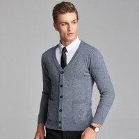 2016 New Autumn Wool V Neck Long Sleeve Jacquard Knitting Pattern Mens Cardigan Sweater