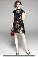 Autumn new original design Chinese style 3 D flower jacquard big size slim improved A version cheongsam dress for women