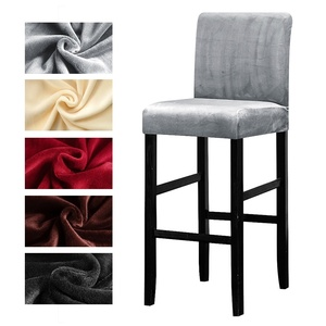 Velvet Plush Bar Chair Cover Elastic High Stool Chair Protector Seat Cover Slipcover for Hotel Banquet Wedding Party Dining Room(China)
