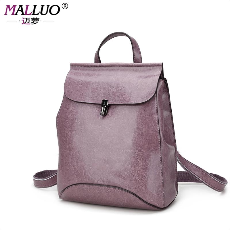 Prix pour MALLUO Femmes sacs à dos en cuir de haute qualité Véritable adolescents Sac D'école Sacs à Bandoulière Femmes Casual Back Packs Voyage Sac CHAUDE!!!