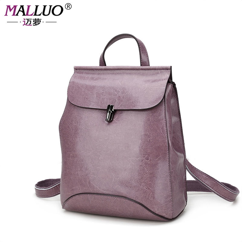MALLUO Women backpacks high quality Genuine leather teenagers School Bag Shoulder Bags Women Casual Back Packs Travel Bag HOT!!! metting joura vintage bohemian ethnic solid satin fabric cross turban elastic headband hair accessories