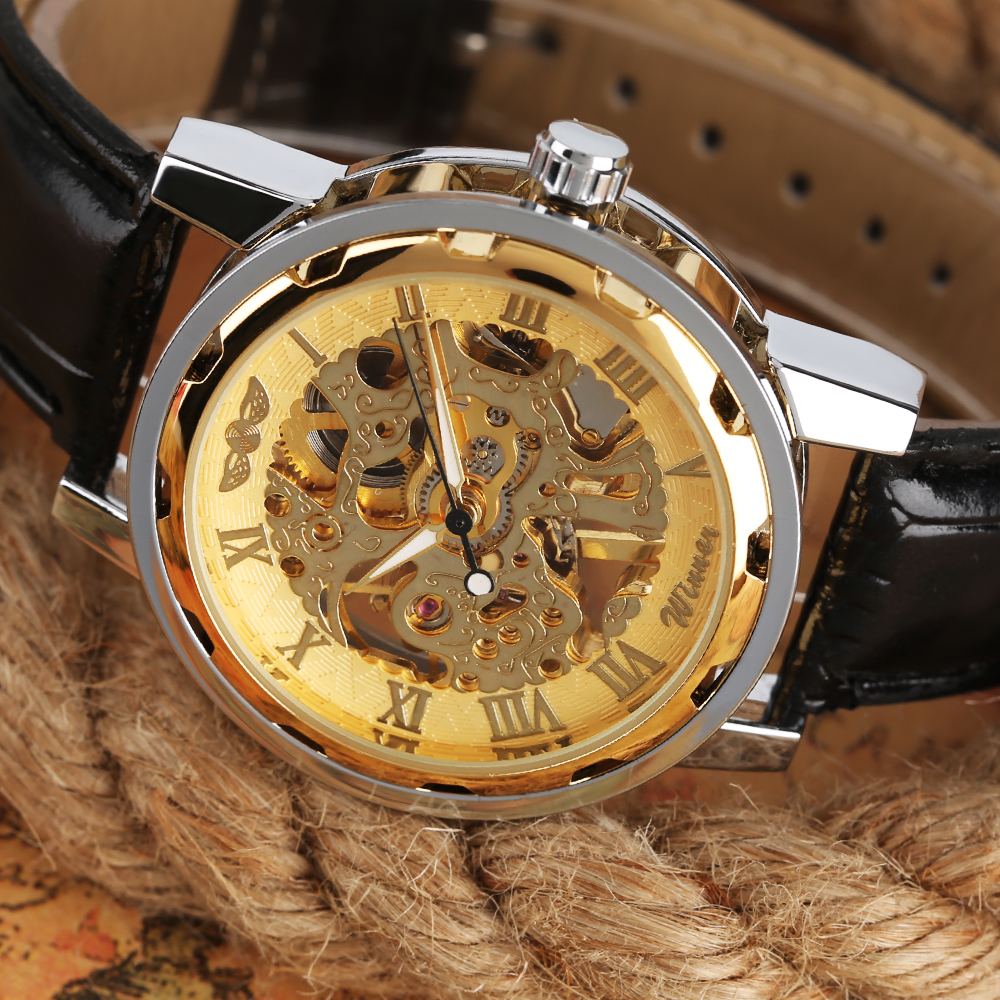 Winner Fashion Gold Black Roman Number Dial Luxury Design Clock Mens Watch Top Brand Cool Mechanical Skeleton Male Wrist Watches амон ра легенда о камне купить