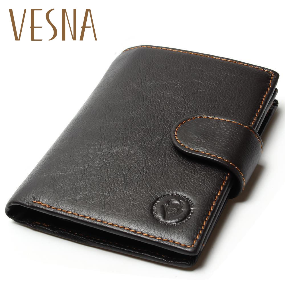 High Quality 2019 New Style Layer Of Import Oil Wax Cowhide Medium Paragraph Buckle Leather Wallet Men's Purse