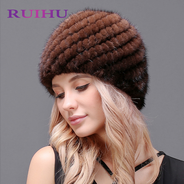 RUIHU Mulheres Mink Chapéu de Pele de Abacaxi Projeto Feminino Genuíno Inverno  Senhora Russa RHM647 Gorros 777ee5badfa