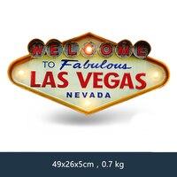 Las Vegas Добро пожаловать неоновая вывеска для бара винтажный домашний декор живопись с подсветкой Висячие металлические вывески Железный па...