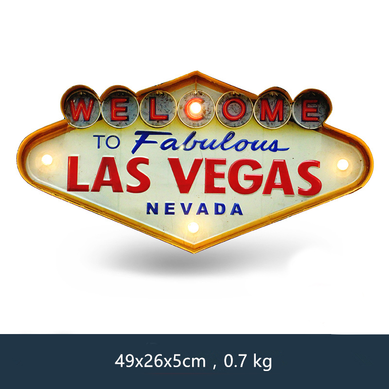 Las Vegas Velkommen Neon Sign for Bar Vintage Home Decor Painting Opplyst Hanging Metal Skilt Iron Pub Cafe Wall Decoration