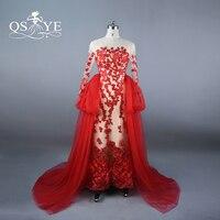 Prawdziwe Zdjęcia Red i Champagne Arabski Vintage Suknie Wieczorowe z Odpinanym Spódnica Eleganckie Aplikacje Balu Długie Suknie Custom Made