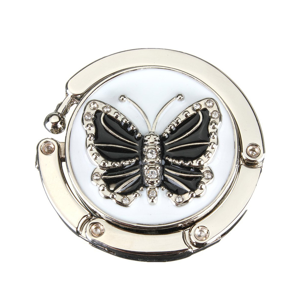 1PC Fashion Originality Lovely Color Butterfly Design Handbag Folding Bag Purse Hook Hanger Holder For Gift Beetle Lock Bling