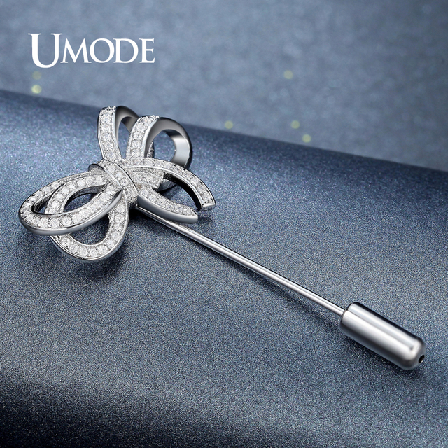 UMODE New Fashion Bowknot Brooches for Women Wedding Bridal Apparel Accessories Austria Rhinestone Crystal Brooch and Pins Gifts