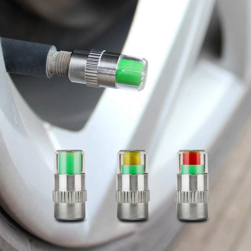 4Pcs 2.4 Bar 36 PSI Air Warning Alert Tire Valve Pressure Sensor Monitor Tyre Cap Indicator For Auto Car 3 Color Eye Alert