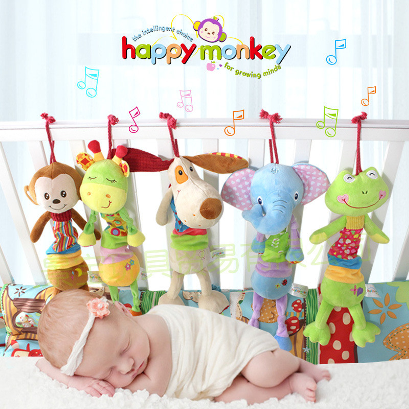 Baby Toys Hanging Musical Ring Bell Soft Plush Toys For Children Newborn Stroller Cartoon Animal Giraffe/Monkey/Elephant/ Stuffe