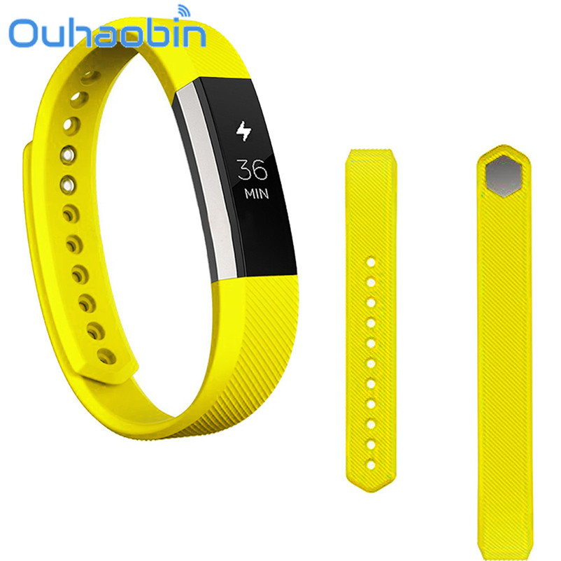 Ouhaobin 10.5cm 1.6cm Yellow Color Soft Silicone Watch band Wrist strap For Fitbit Alta Smart Watch Gift Oct 26 Dropship
