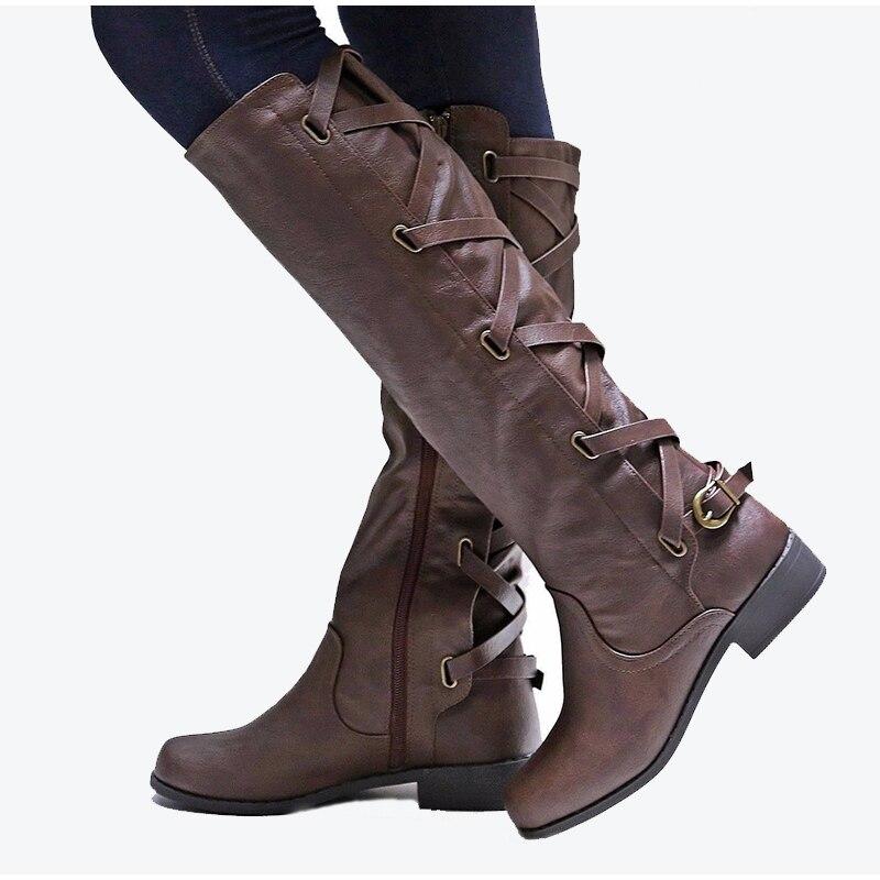 3d0232850 Cremallera Zapatos Plataforma Mujer Grandes Otoño Damas Encaje Tallas Botas  Hebilla La Gruesos Moda Hasta Rodilla ...