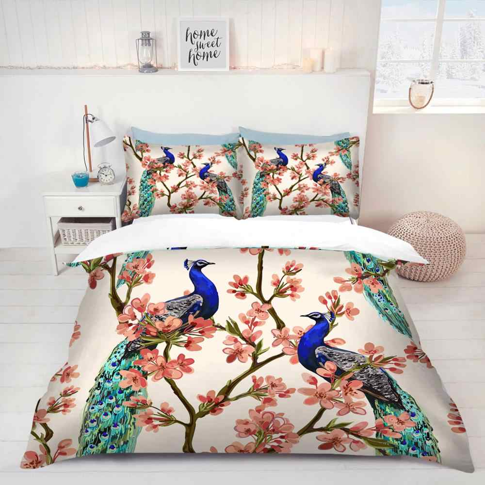 Peacock / Phoenix printed Full Twin Queen single sizes quilt duvet cover with pillowcases bedding set Holiday gift 3pcs bed set