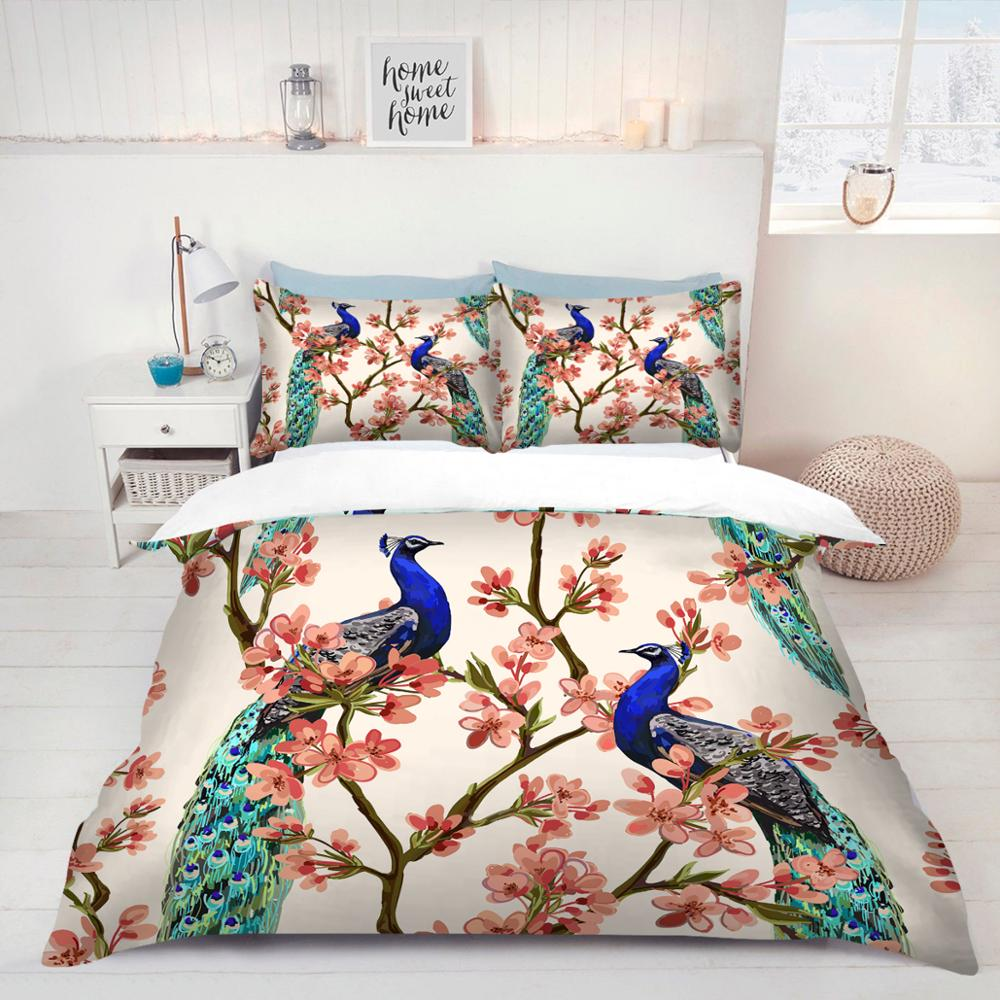Peacock / Phoenix printed Full Twin Queen single sizes quilt duvet cover with pillowcases bedding set Holiday gift 3pcs bed set(China)