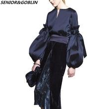 57eef5c33e8 2019 New High Quality Autumn Winter Fashion Runway Designer 2 Piece Set  Women Lantern Sleeve Tops