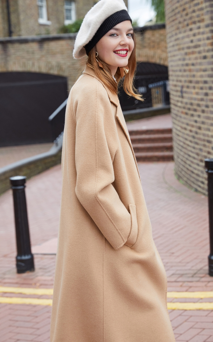 Vero Moda Women's new 100% wool double-sided single buckle minimalist woolen overcoat | 318327505 23