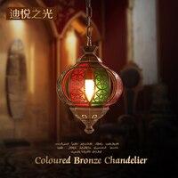 Арабские индивидуальные художественные Медь светодио дный E27 подвесные светильники роскошный Красочные подвесной светильник отель Кофе м