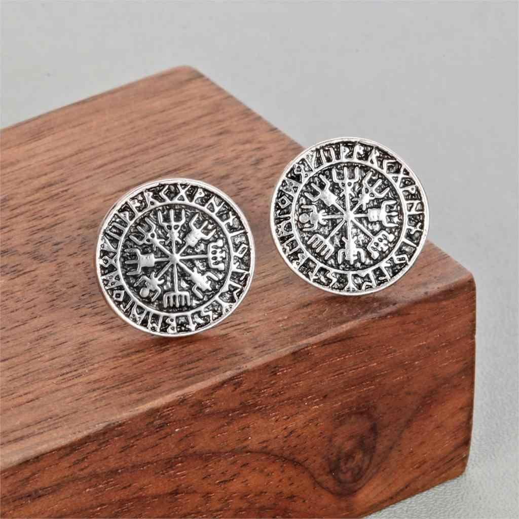 Todorova ไวกิ้งไอซ์แลนด์ Vegvisir หมวกนิรภัยสยองขวัญใน Runic ต่างหู Magical Staves เข็มทิศ Rune Amulet ชายต่างหู