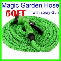 2014 NEW Retractable 50FT Garden Water Hose For Car Pipe With Metal Gun Blue Green