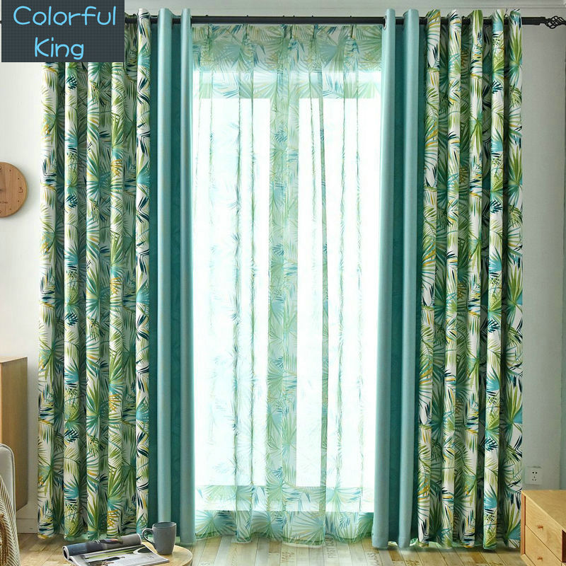 Leaves Blackout Curtains for Kitchen Living Room Bedroom Patchwork Window Treatment Curtain Sheer Drapes Shading Rate 90%