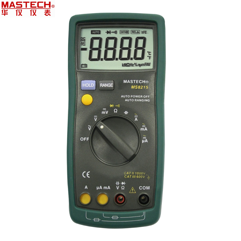 1pcs MASTECH MS8215 Auto Range Digital Multimeter DMM AC/DC Voltmeter Ammeter Multitester Ohmmeter Capacitor Tester Megohmmeter bside adm02 digital multimeter handheld auto range multifunction dmm dc ac voltage current temperature meters multitester