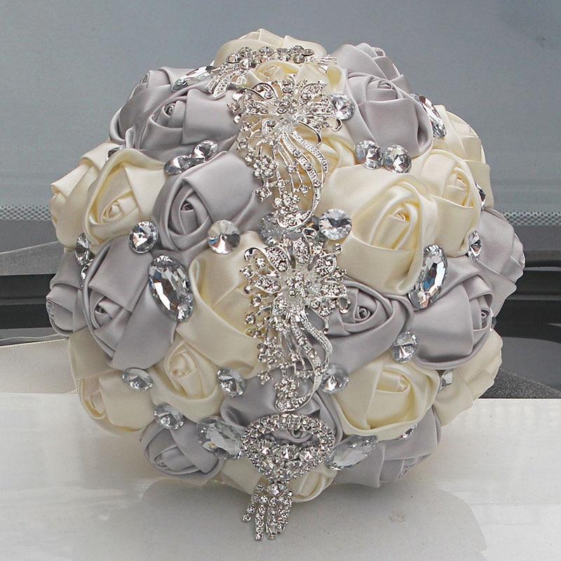 Acheter DImaond Argent Ivoire Superbe Main De Mariée Bouquet De Mariage Bouquet De Mariage Bouquets De Mariage Perle Fleurs Buque De Noiva W228A de Artificielle et Fleurs Séchées fiable fournisseurs