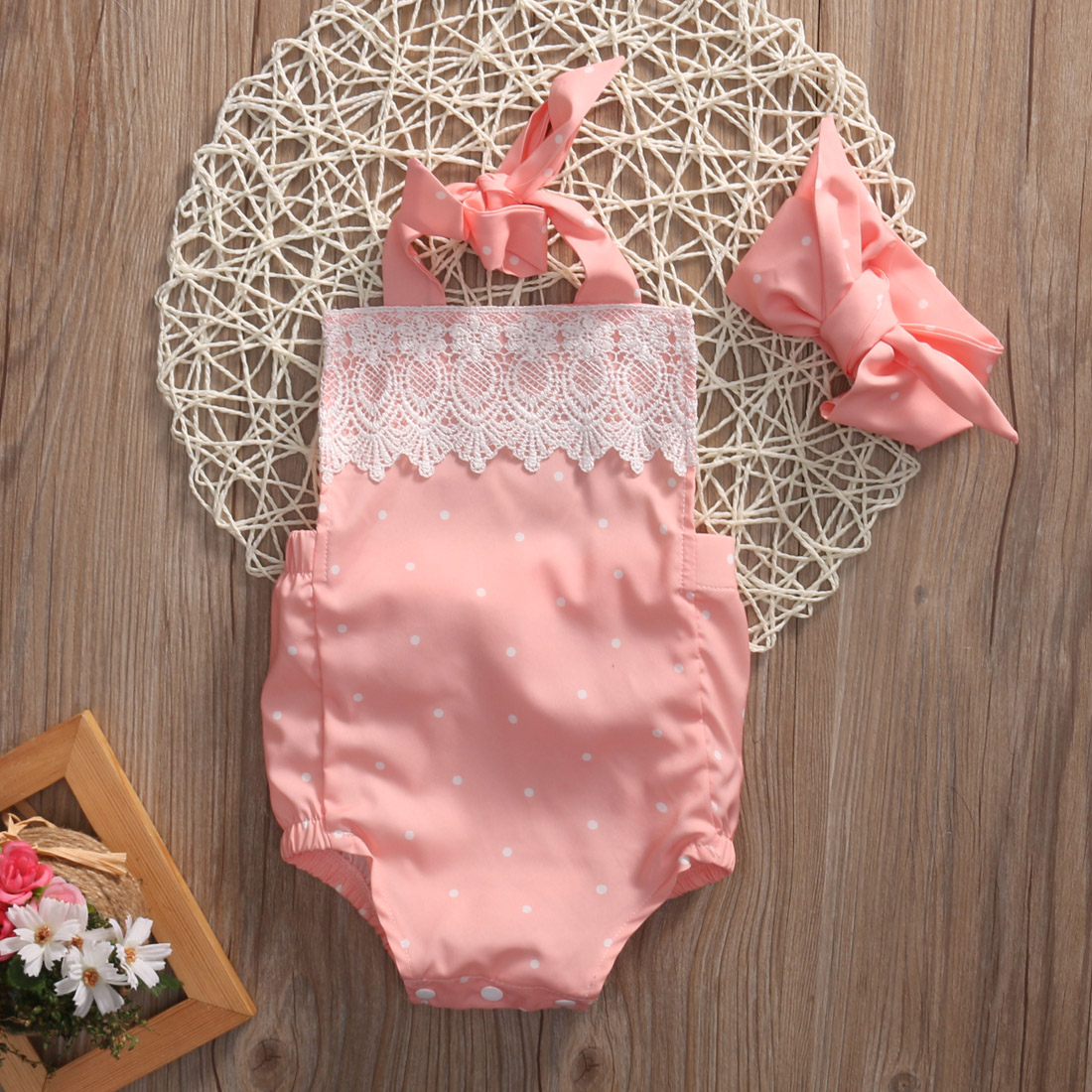 Նորածնի փոքրիկ երեխա Մանկական հագուստի հագուստով անքուն Գեղեցիկ Backless Pink Ruffle Halter Romper Jumpsuit + Headband Baby հանդերձանքով