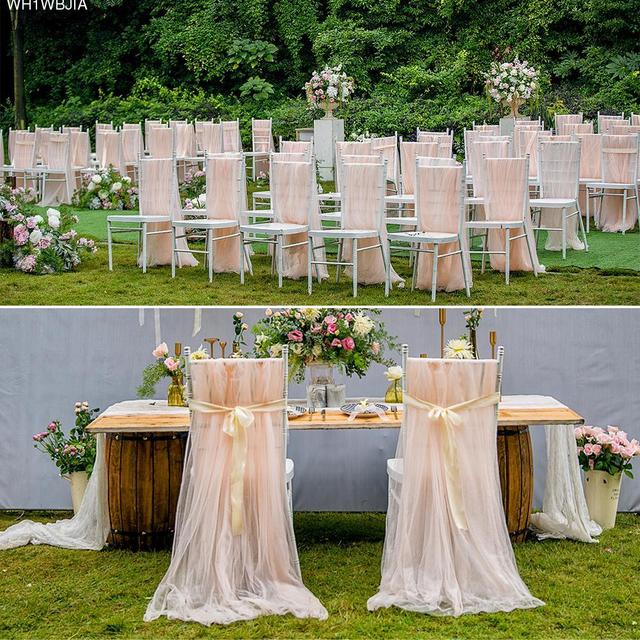 Chair Covers Diy Folding Lyrics 2pcs Set Soft Tulle Cover For Wedding Birthday Party Baby Shower Celebrations Decoration Quality Organza