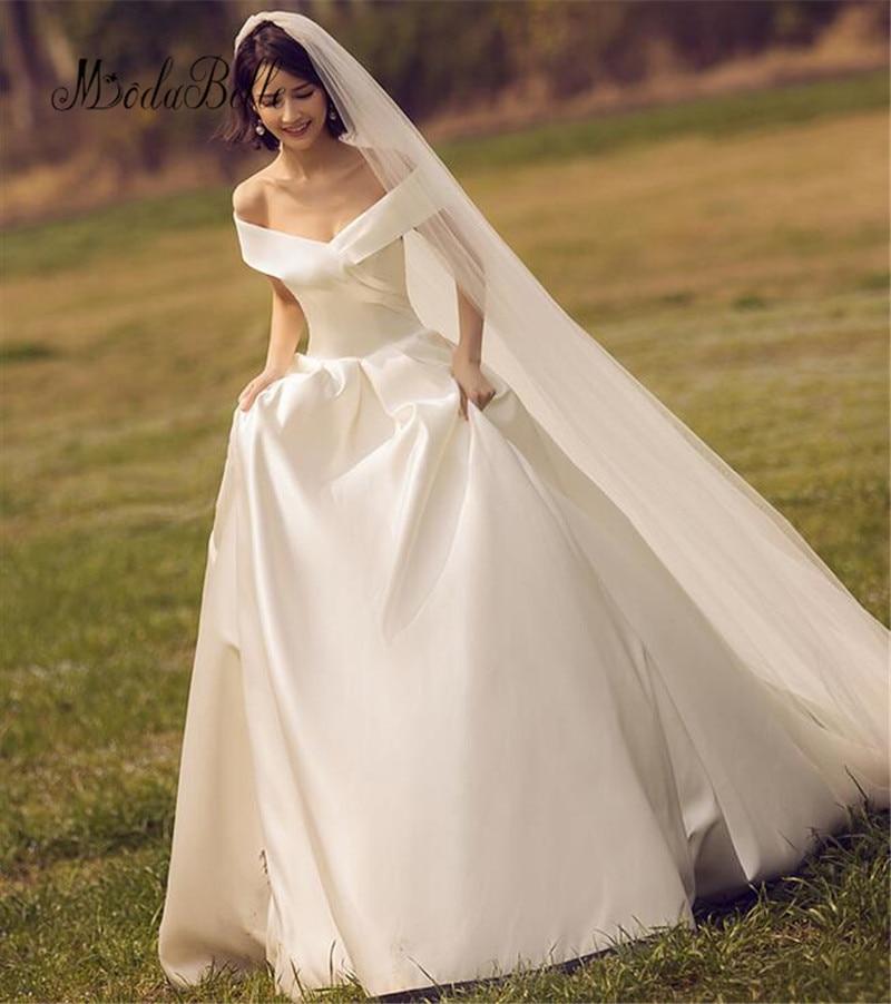 Us 141 96 9 Off Modabelle Sleeveless A Line Vintage Wedding Dresses Elegant Satin Boat Neck Simple Vestidos De Novia White Wedding Gowns In Wedding