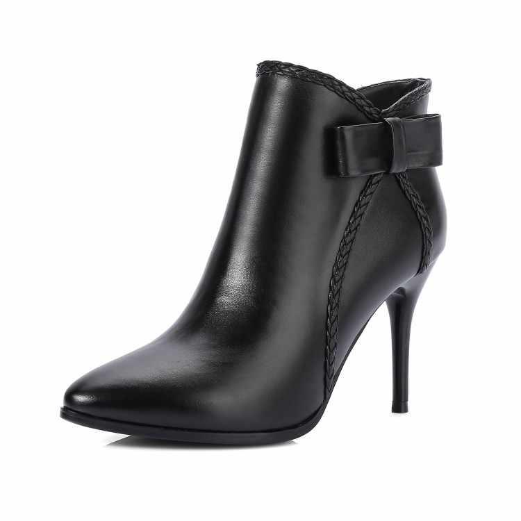 MLJUESE 2018 kadın botları inek deri kayma siyah renk kısa peluş papyon sivri burun yüksek topuklu kış çizmeler boyutu 34-40