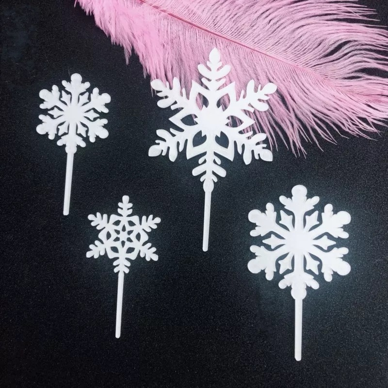 Image 4 - 4pcs Merry Christmas Acrylic Cake Topper Glitter White Snowflake Cupcake Topper For Christmas Party Cake Decorations Xmas 2019-in Cake Decorating Supplies from Home & Garden