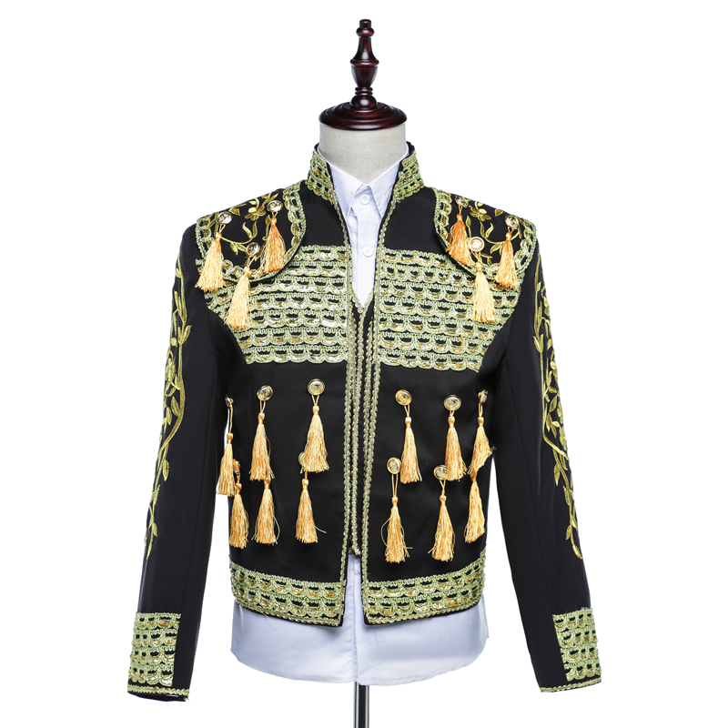 Spanish bullfight Suit Men Blazers Royal Gown Stand Collar Chinese Tunic Suit Embroidery Red Gold Blue Stage Male Singer Suits