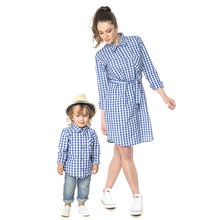 Family Look Plaid Shirt and Dresses for All Family Members