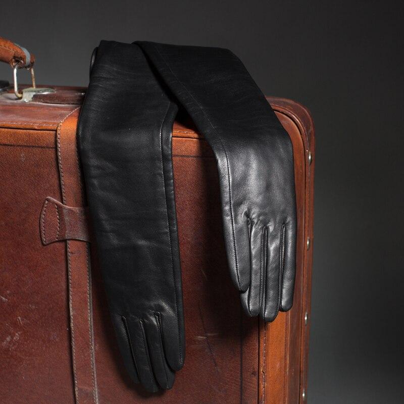 70 см (27,6 ) длинные классические простые супер длинные перчатки из натуральной кожи черные - 6