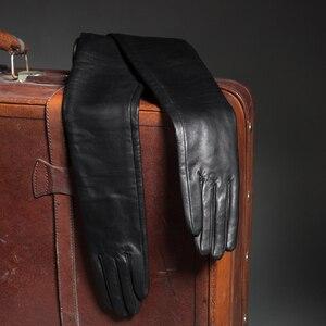 Image 5 - 70 см (27,6 дюйма) длинные классические простые сверхдлинные перчатки из натуральной кожи на плече черные