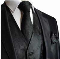 2019 New Arrival Airtailors Black Paisley Pattern Tuxedo Vest for Fashion Wedding light Grey and Black Two Colors Plus Size