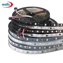 WS2811 led strip 5m 30/48/60 leds/m,10/16/2ws2811 ic/meter,DC12V White/Black PCB, 2811 Addressable Digital