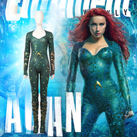 Movie Aquaman Mera Cosplay Costume Queen of Atlantis Princess Cosplay Jumpsuits Same Costumes From The Movie Fancy Party Dress