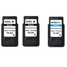 3 unids para canon pg 440 cl 441 pg-440 cl-441 cartucho de tinta PG440 CL441 para PIXMA MX374 MX394 MX434 MX454 MX474 MG4140 MG4240 MX514