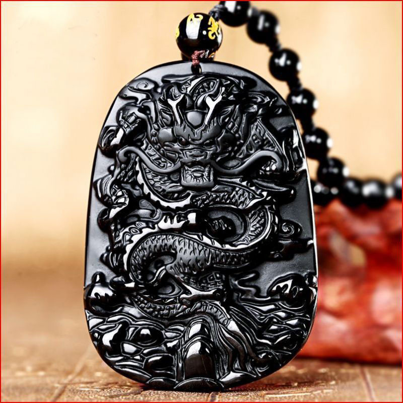 Natural Energy Obsidian Stone Dragon Necklace