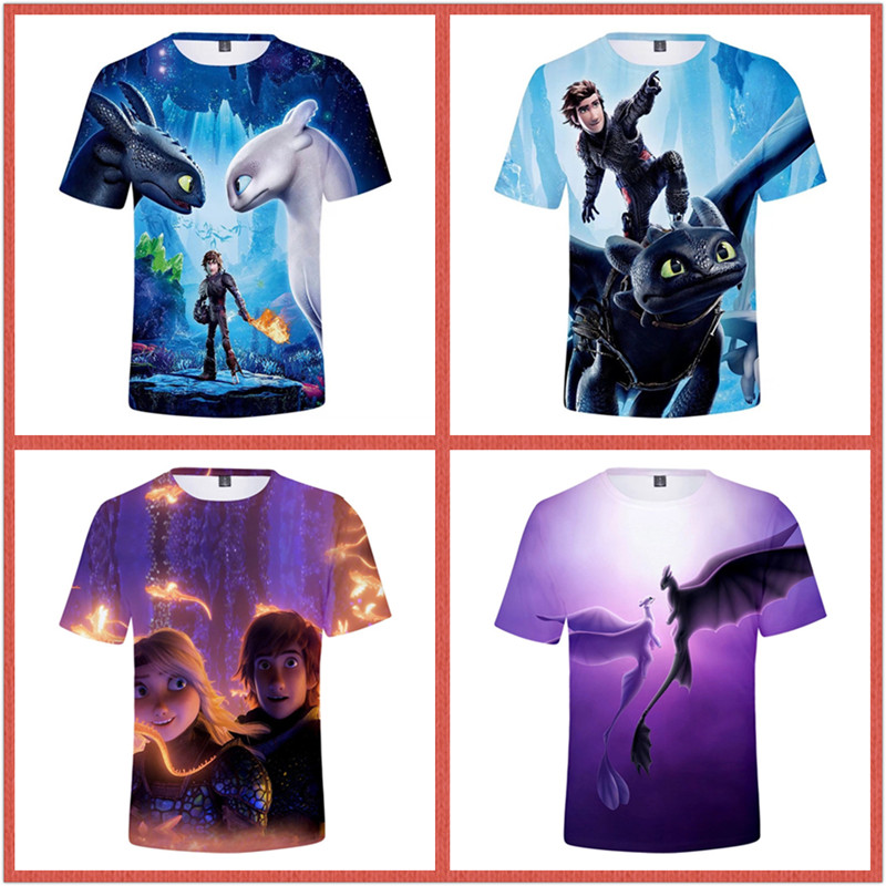 ZSQH 2019 How To Train Your Dragons 3 T-shirt cosplay costume 3D Print The Hiddens Worlds Style Hooded for kids women children
