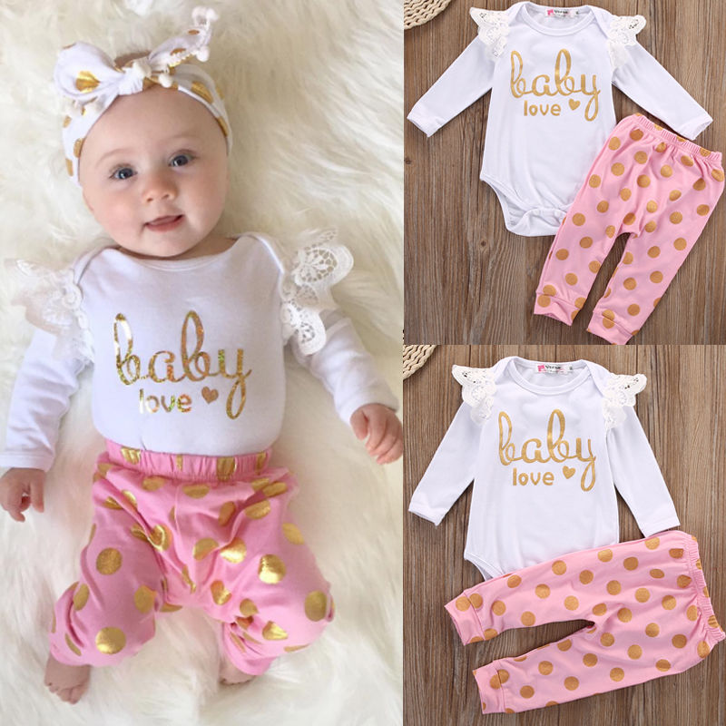 Toddler Infant Newborn Baby Girls Clothes Set Romper Long Sleeve Cotton Pants Jumpsuit Bodysuit Clothing Baby