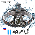 15000Lm T6 LED Headlight Zoom Flashlight Torch Camping Fishing Headlamp Lantern Bicycle Head Lamp 4 Modes With 2*18650 Chargers