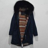 Новые модные длинные хлопковые Лайнер Женщины куртка енот капюшон с меховой отделкой парка с мехом