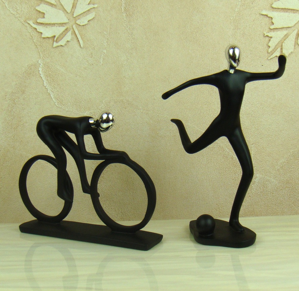 Football player ornament - Aliexpress Com Buy Handmade Bicycle Racer Sculpture Decorative Polyresin Abstract Football Player Statue Sport Event Knickknack Craft Ornament From