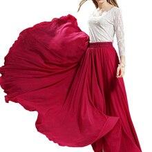 3 Слои длинная шифоновая юбка для Для женщин элегантные Повседневное Высокая талия Boho Стиль пляжные макси-юбки Saias 80/90/100 см Весна SK273