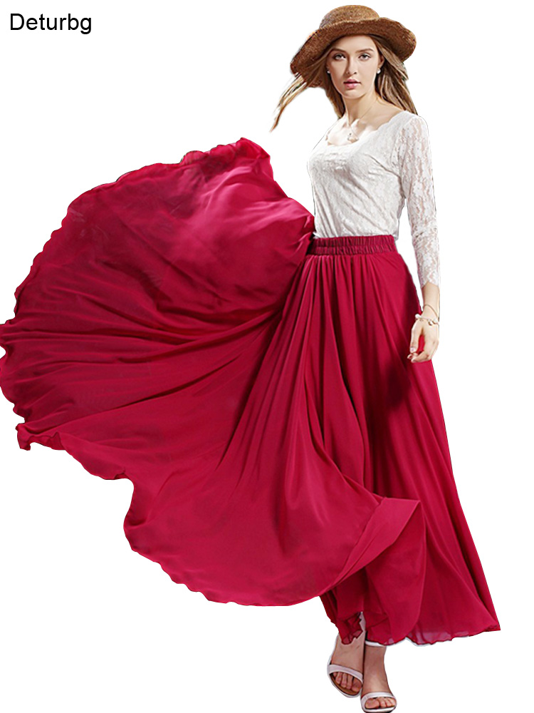 3 Layer Chiffon Long Skirts For Women Elegant Casual High Waist Boho Style Beach Maxi Skirts Saias 80/90/100cm 2019 Spring SK273