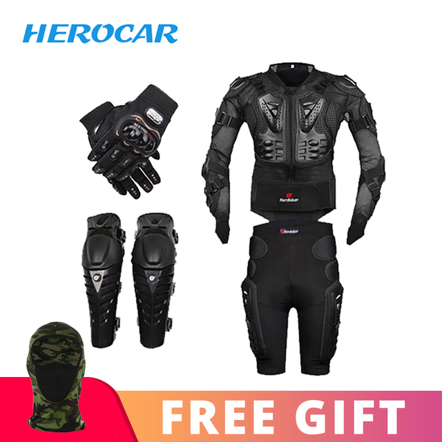 New Motorcycle Jacket Motocross Racing Motorcycle Body Armor Moto Protective Gear+Shorts Pants+Protection Knee Pads+Gloves Guard