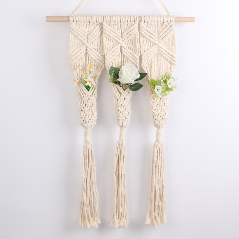 Handmade Macrame Plant Hanger Wall Hangings with Tassels Decor Cotton Rope